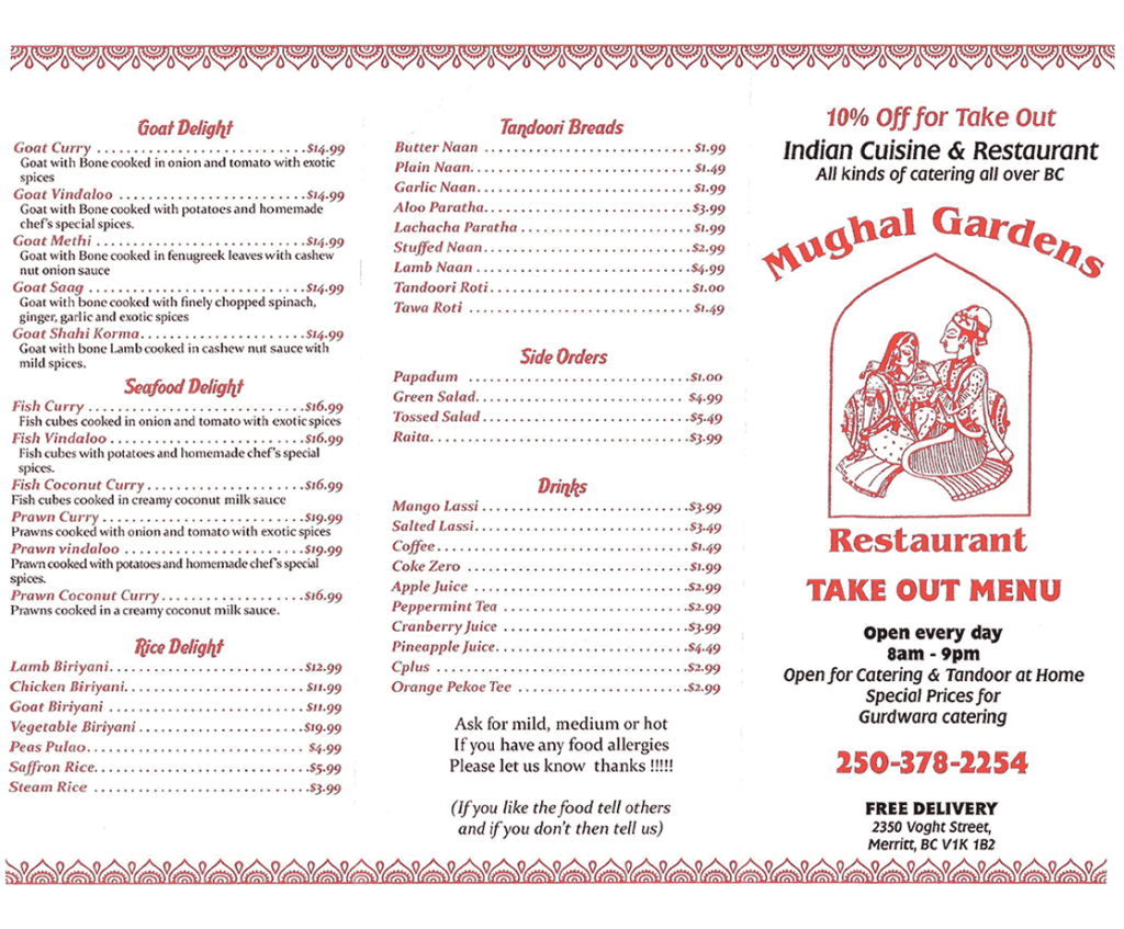 Take out Menu Page 2